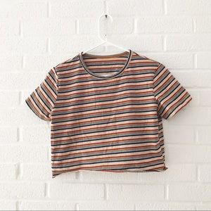 Tops - Striped 90s Style Crop Top XS